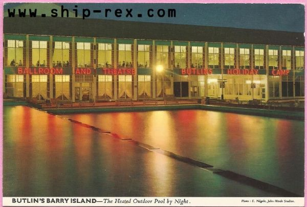 Butlins Barry Island by night - postcard